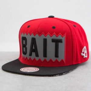 BAIT x Mitchell And Ness Box Logo Snapback Cap - 3M (red / black)
