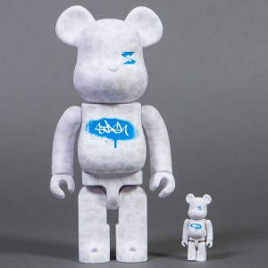 Medicom Stash 100% 400% Bearbrick Figure Set (white)