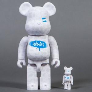 Medicom Stash 100% 400% Bearbrick Figure Set (white)
