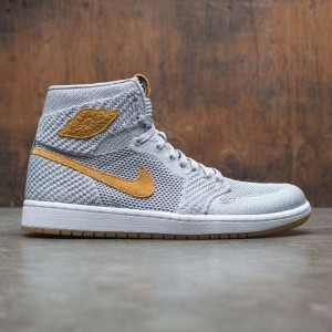 Air Jordan 1 Retro High Flyknit Men (grey / wolf grey / golden harvest-gum yellow)
