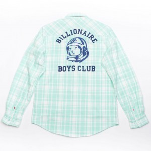 Billionaire Boys Club Men Checks Long Sleeve Woven (green / beach glass)