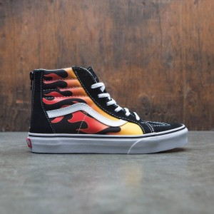 Vans Big Kids SK8-Hi Zip - Flame (black / red)