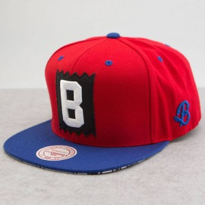 BAIT x Mitchell And Ness B Box Logo Snapback Cap (red / royal)
