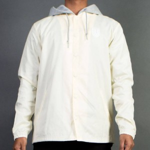 Undefeated Men Hooded Coach Jacket (white / offwhite)