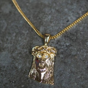 Veritas Aequitas Full Size Jesus Piece Necklace (gold)