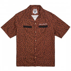 Billionaire Boys Club Men Leone Woven Shirt (brown / cheetah / cinnamon)