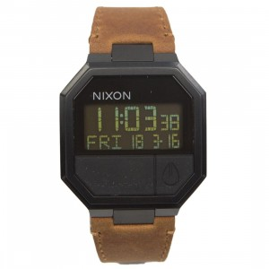 Nixon Re-Run Leather Watch (brown / all black)